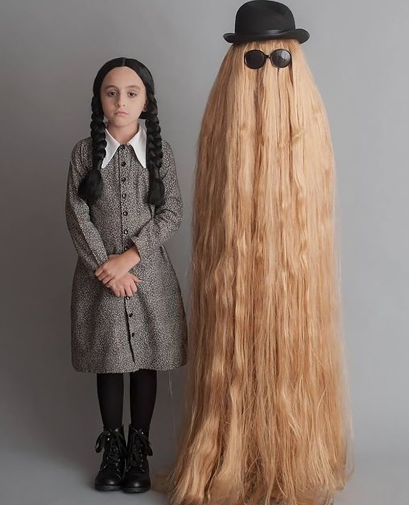 1. Wednesday Addams and Cousin It Costume  sc 1 st  UpSmash & Most Unique Halloween Costumes Ideas Must Try This Year - Upsmash