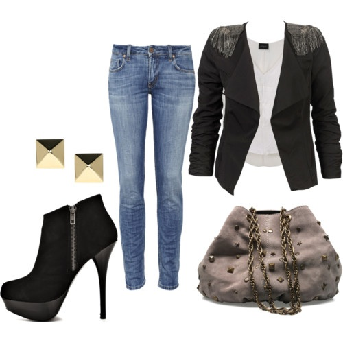 Pair of jeans, with a white tank top, paired with a studded coat blazer