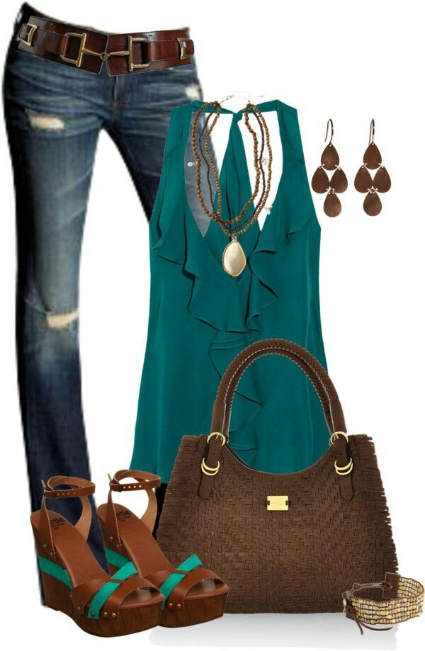 Ruffled tank top, deep blue jeans, tear-drop earrings, a necklace and matching wedges.