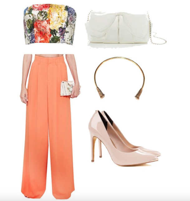 flared flapper pants with a crop top
