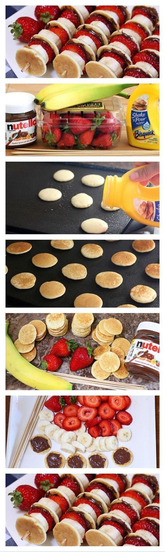 Pancake and fruit skewers
