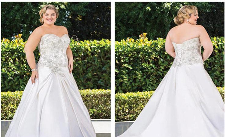 A-Line Side Drape Strapless Plus Size Wedding Dress