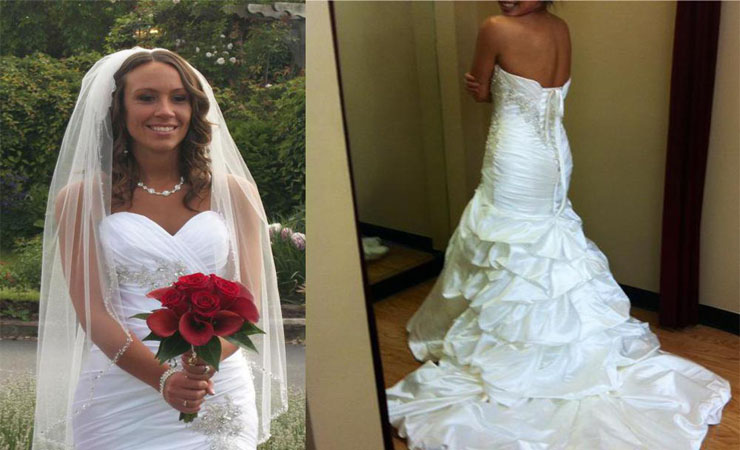 Cap Sleeve Satin Plus Size Wedding Dress with Button Closure on Upper Back