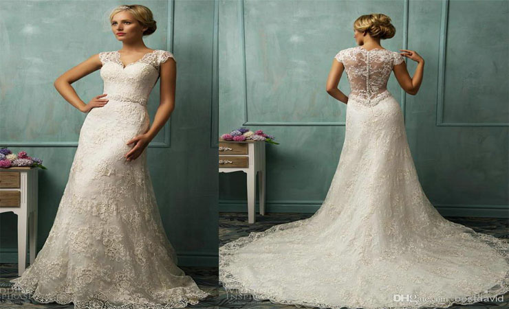 Cap Sleeves Tulle Plus Size Wedding Dress with Illusion Neckline