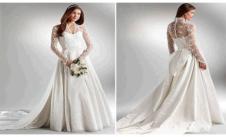Long Sleeve Sheath Plus Size Lace Wedding Dress