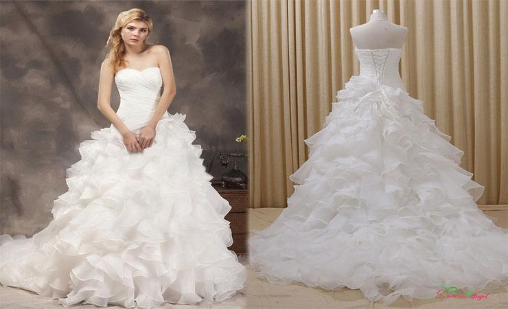 Mermaid Organza One shoulder Tiers Court Train Plus Size Wedding Dress
