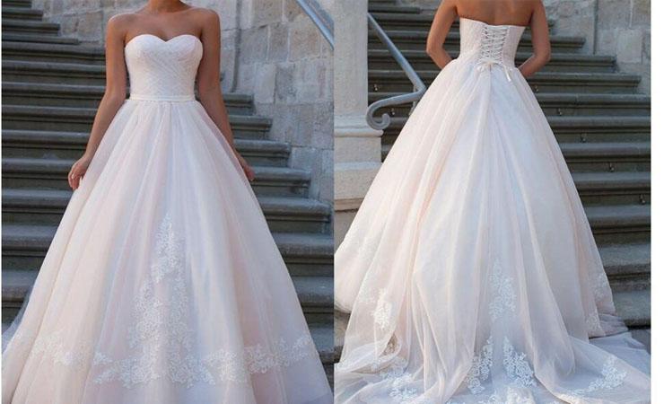Tank Lace Plus Size White Wedding Dress with Beaded Appliqué